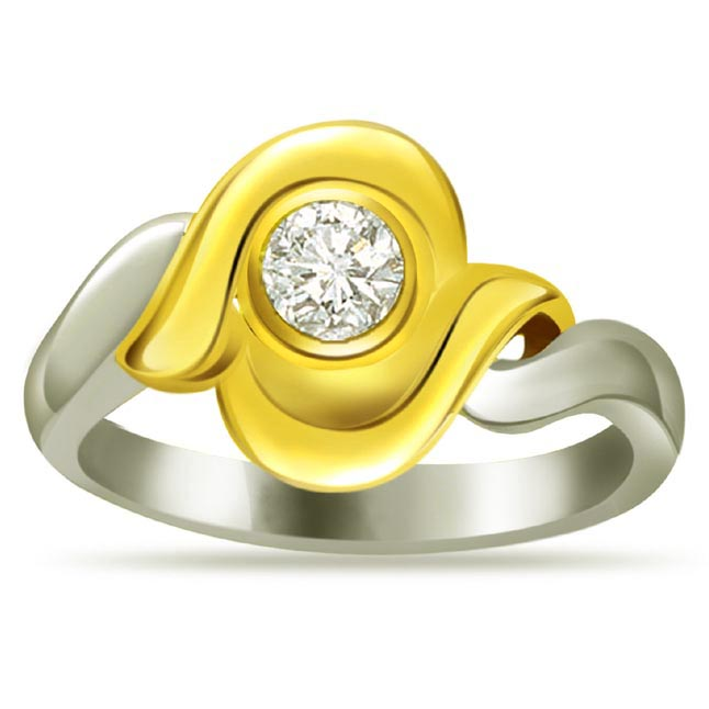 Two -Tone Solitaire Diamond rings SDR607