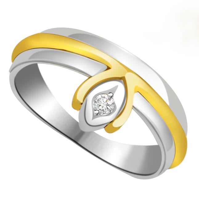 Two -Tone Solitaire Diamond rings SDR615