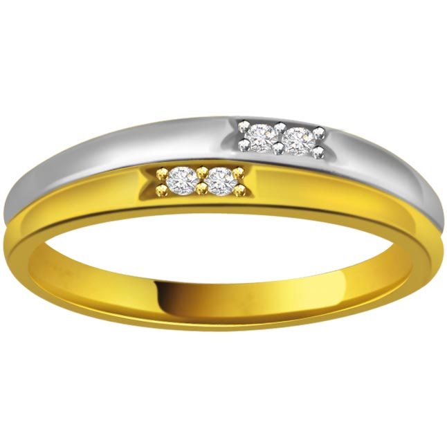 Two -Tone Solitaire Diamond rings SDR617 -White Yellow Gold rings