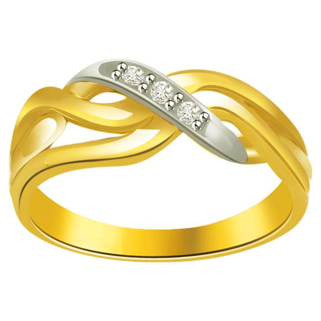 Trendy Diamond Gold rings SDR619 -White Yellow Gold rings