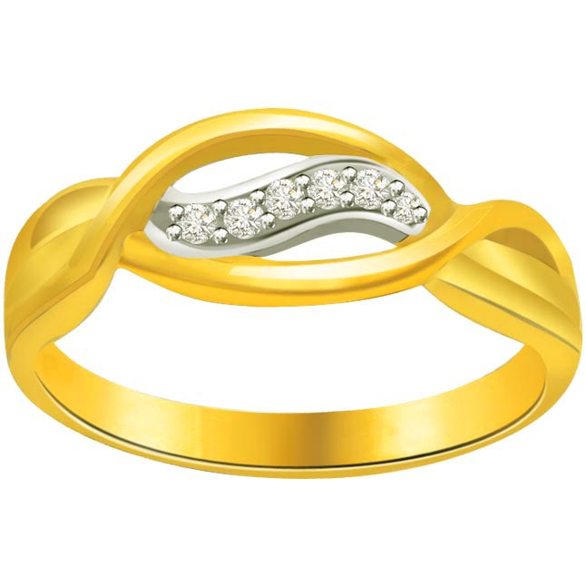 Trendy Diamond Gold rings SDR621 -White Yellow Gold rings