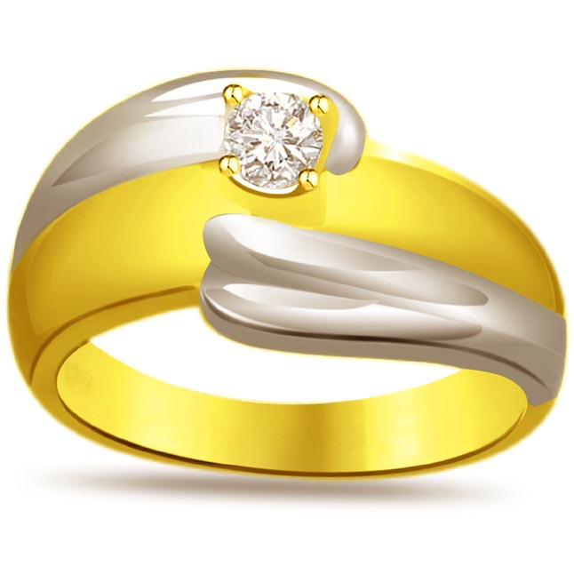 Two -Tone Solitaire Diamond rings SDR626
