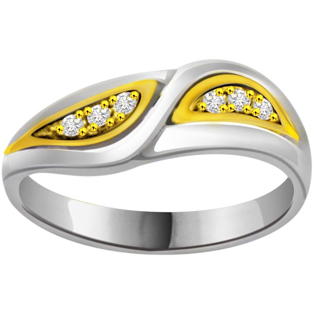 Two -Tone Diamond rings SDR633 -White Yellow Gold rings
