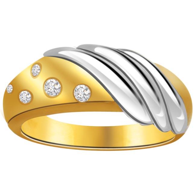 Trendy Diamond Gold rings SDR634 -White Yellow Gold rings