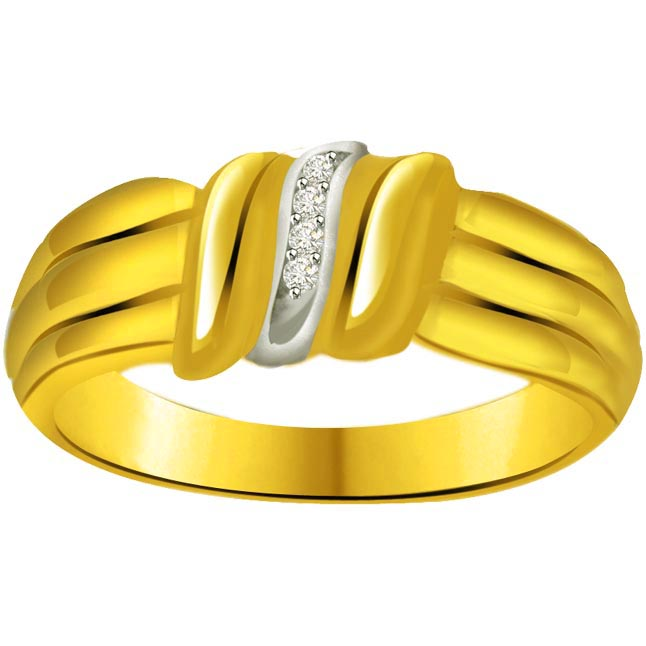 Trendy Diamond Two -Tone rings SDR636 -White Yellow Gold rings