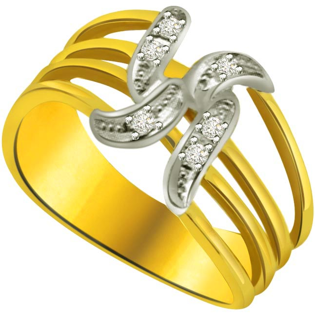 Swastik Diamond Gold rings SDR637