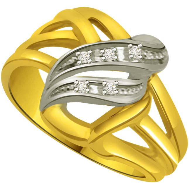 Classic Diamond Two -Tone rings SDR638 -White Yellow Gold rings