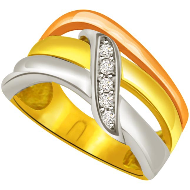 Trendy Diamond Two -Tone rings SDR642 -White Yellow Gold rings