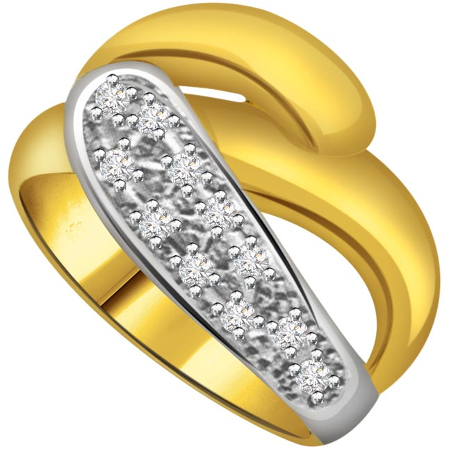 Classic Diamond Two -Tone rings SDR643 -White Yellow Gold rings