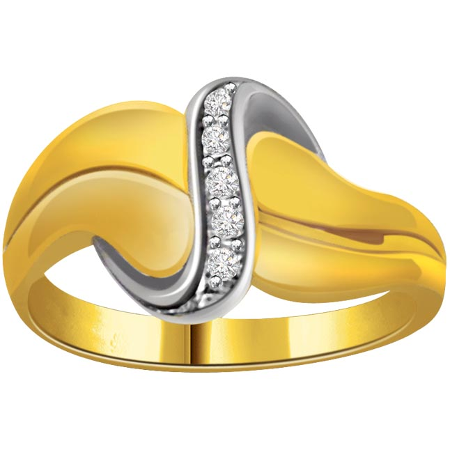 Trendy Diamond Two -Tone rings SDR644 -White Yellow Gold rings