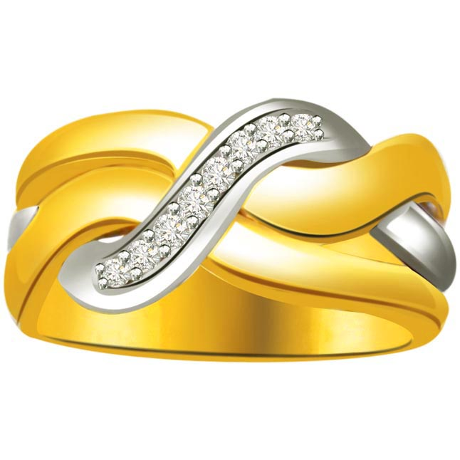 Classic Diamond Two -Tone rings SDR645 -White Yellow Gold rings
