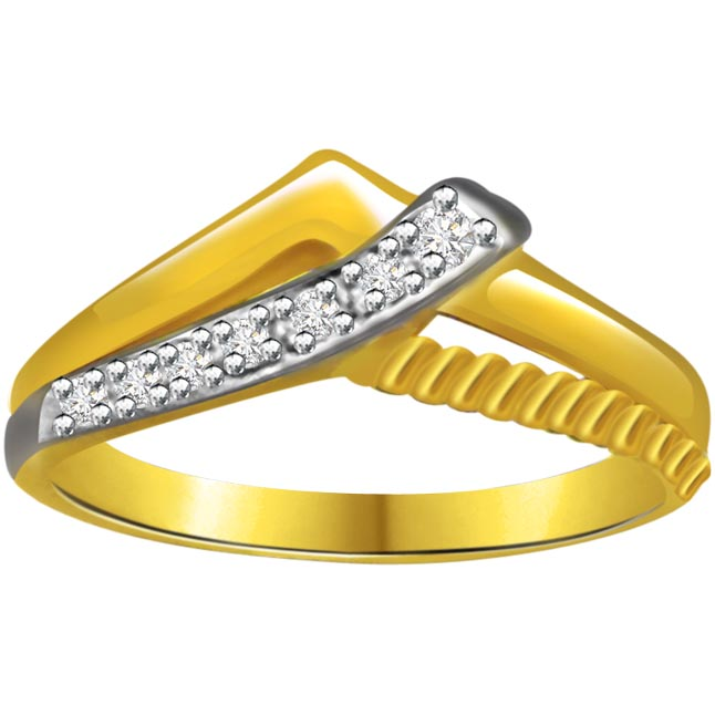 Trendy Diamond Two -Tone rings SDR649 -White Yellow Gold rings