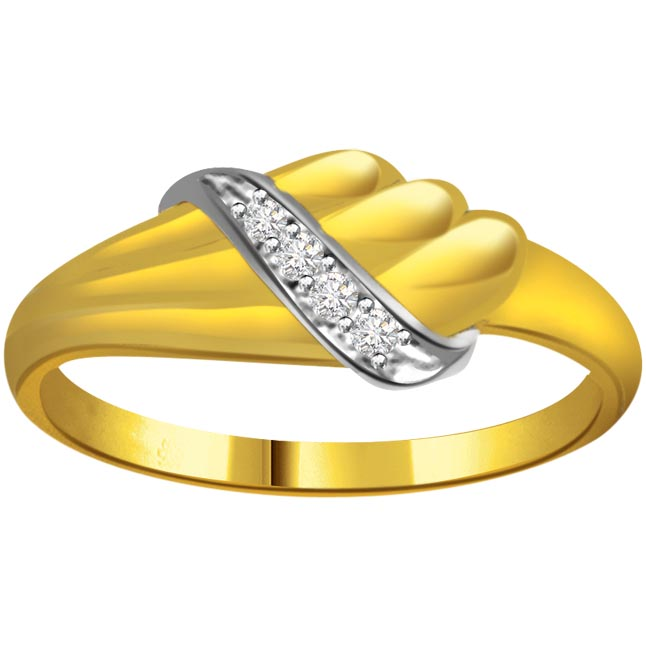 Trendy Diamond Two -Tone rings SDR651 -White Yellow Gold rings