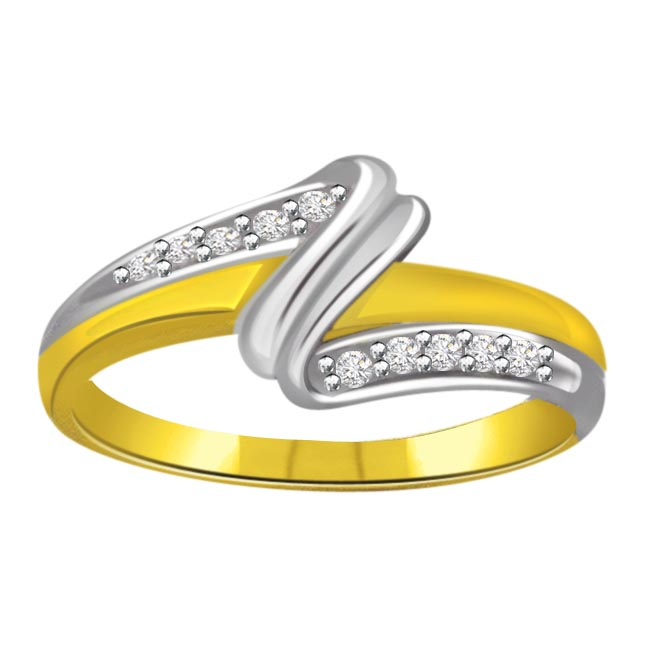 Trendy Diamond Two -Tone rings SDR664 -White Yellow Gold rings