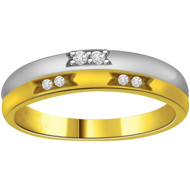 Trendy Diamond Two -Tone rings SDR666 -White Yellow Gold rings