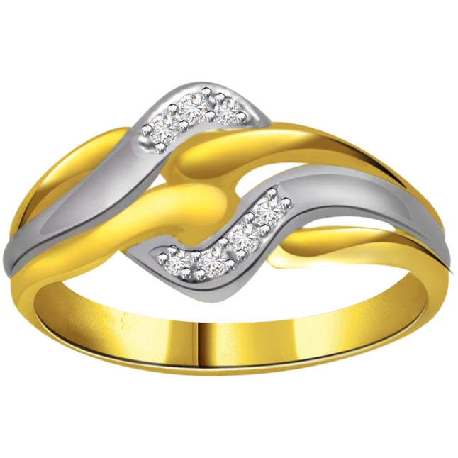 Two -Tone Diamond rings SDR671 -White Yellow Gold rings