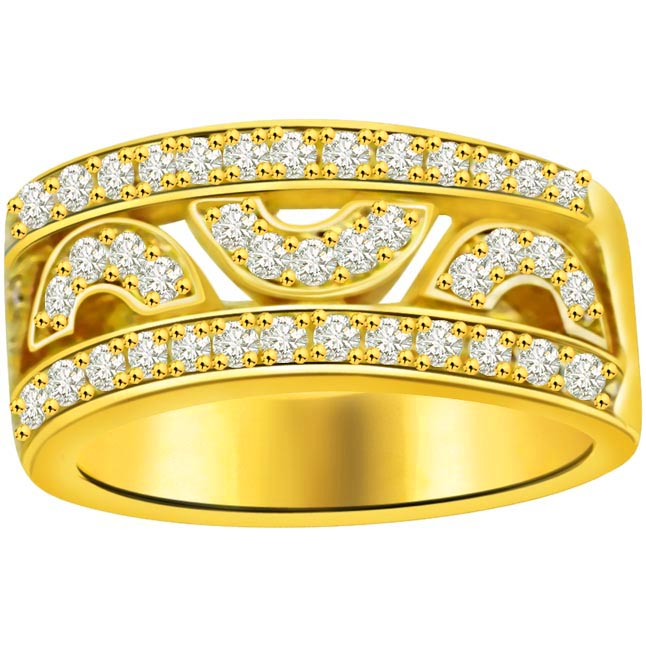 Trendy Diamond Gold rings SDR683