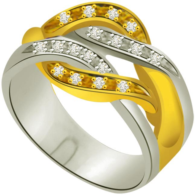 Two -Tone Diamond rings SDR685 -White Yellow Gold rings
