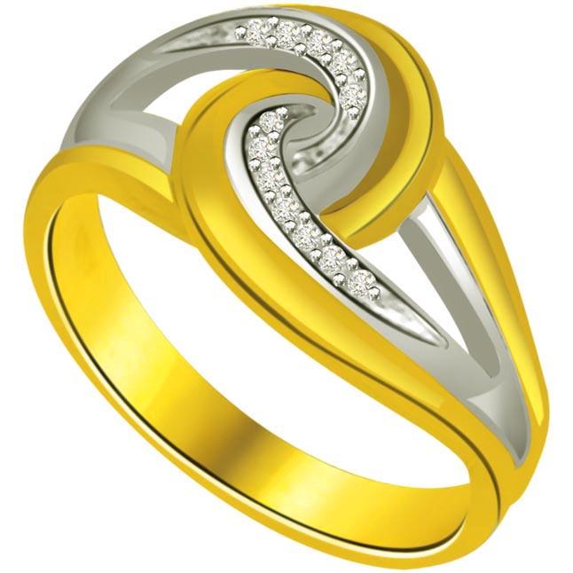 0.12ct Diamond Two -Tone Gold rings