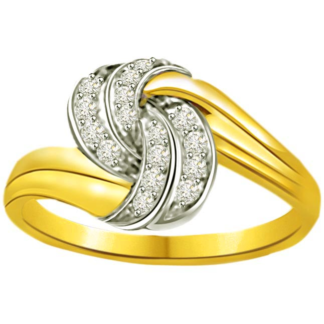 Two -Tone Diamond rings SDR695 -White Yellow Gold rings
