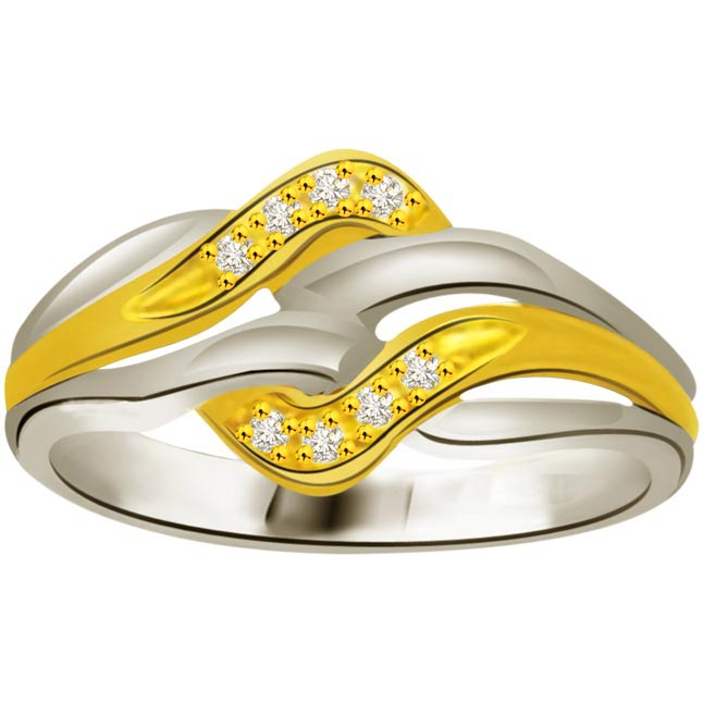 Two -Tone Diamond rings SDR697 -White Yellow Gold rings