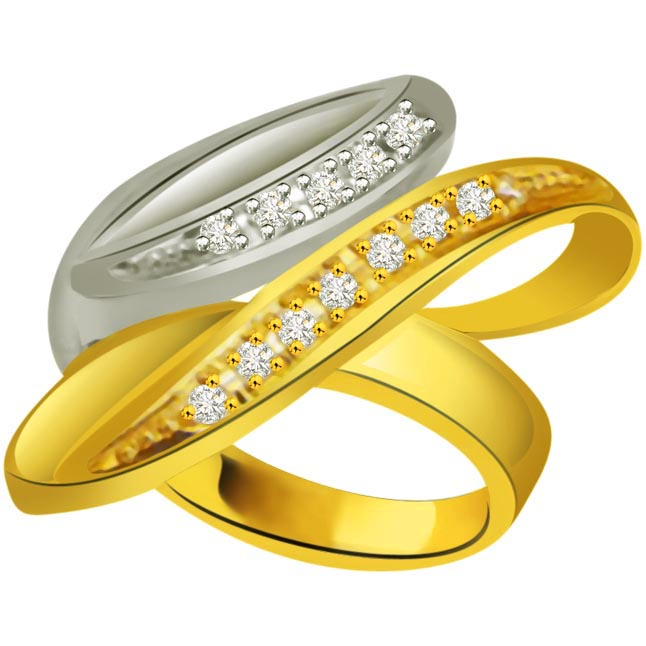 Trendy Diamond 18kt Gold rings SDR699 -White Yellow Gold rings