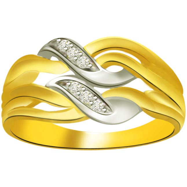 Trendy Diamond 18kt Gold rings SDR703 -White Yellow Gold rings