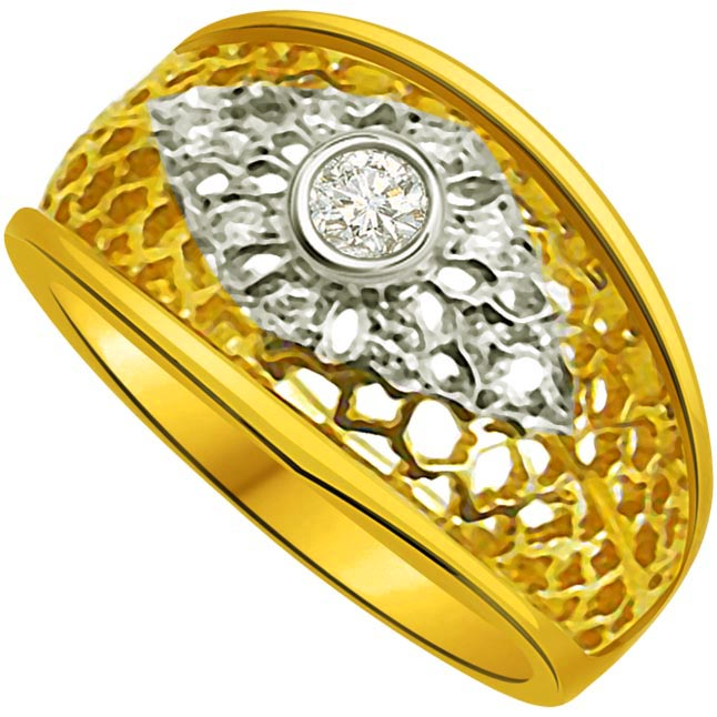 Trendy Diamond Gold rings SDR714 -White Yellow Gold rings