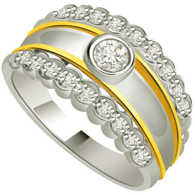 Classic Diamond Gold rings SDR715 -White Yellow Gold rings