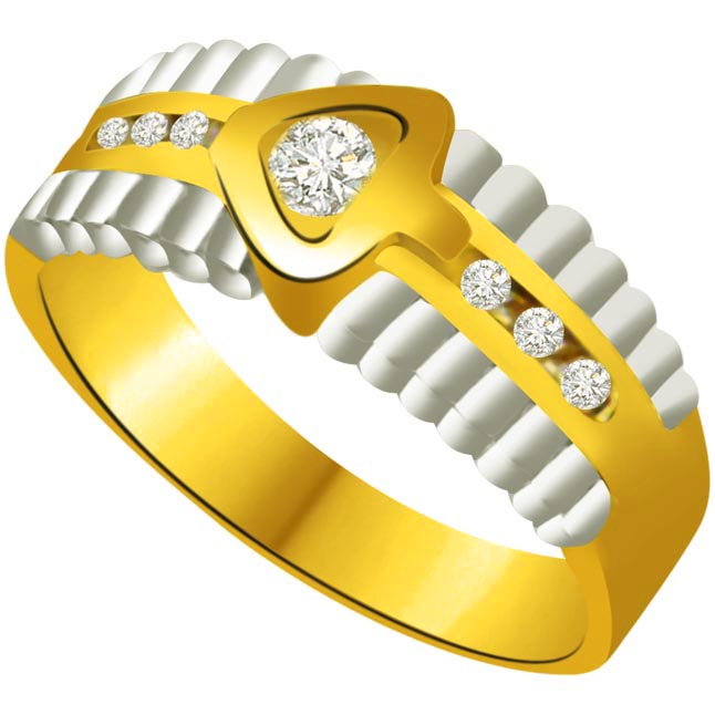 Trendy Diamond Gold rings SDR716 -White Yellow Gold rings