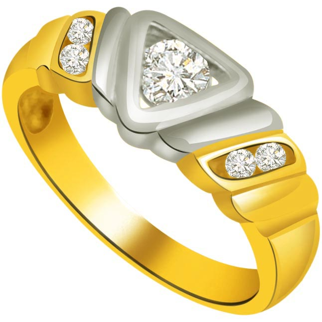 Two -Tone Diamond rings SDR718 -White Yellow Gold rings