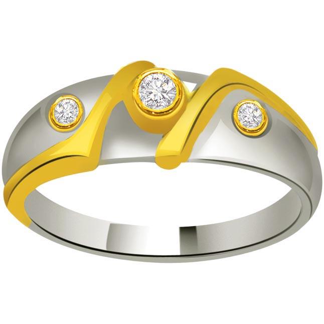 Two -Tone Diamond rings SDR719 -White Yellow Gold rings
