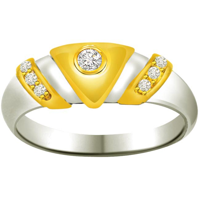 Trendy Diamond Gold rings SDR720 -White Yellow Gold rings
