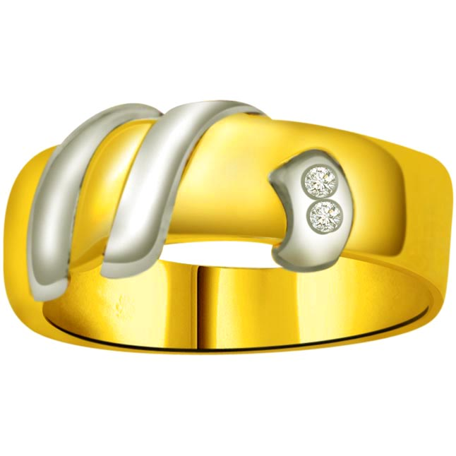 Trendy Diamond Gold rings SDR729 -White Yellow Gold rings