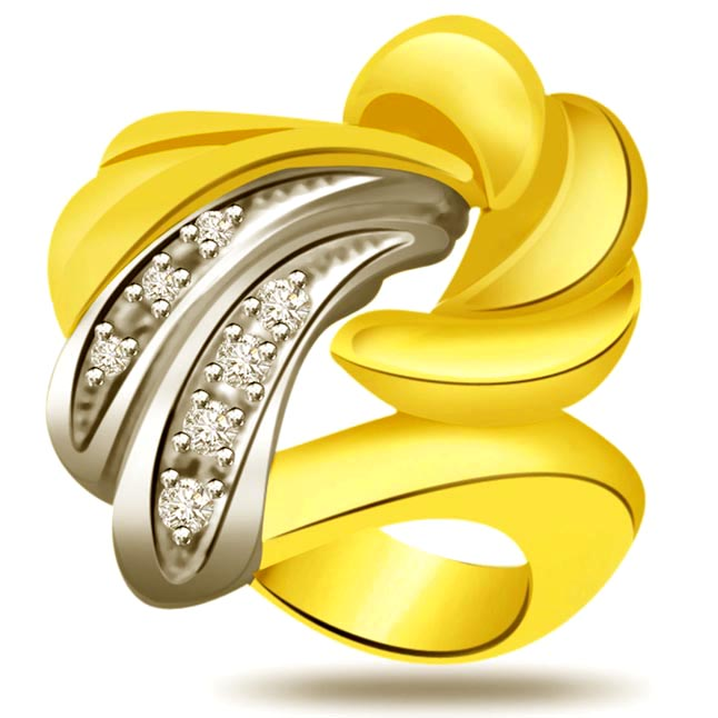Trendy Diamond Gold rings SDR734 -White Yellow Gold rings