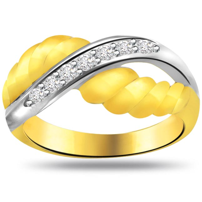 Two -Tone Diamond Gold rings SDR736 -White Yellow Gold rings