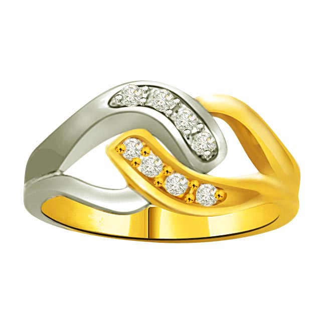 Two -Tone Diamond Gold rings SDR739 -White Yellow Gold rings