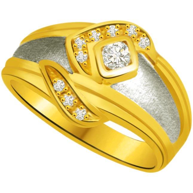 Trendy Diamond Gold rings SDR741 -White Yellow Gold rings