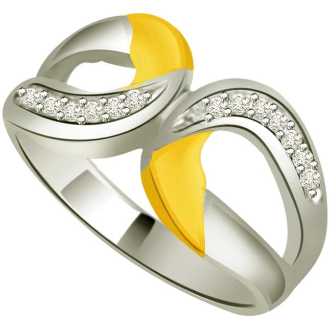 Two -Tone Diamond Gold rings SDR744 -White Yellow Gold rings