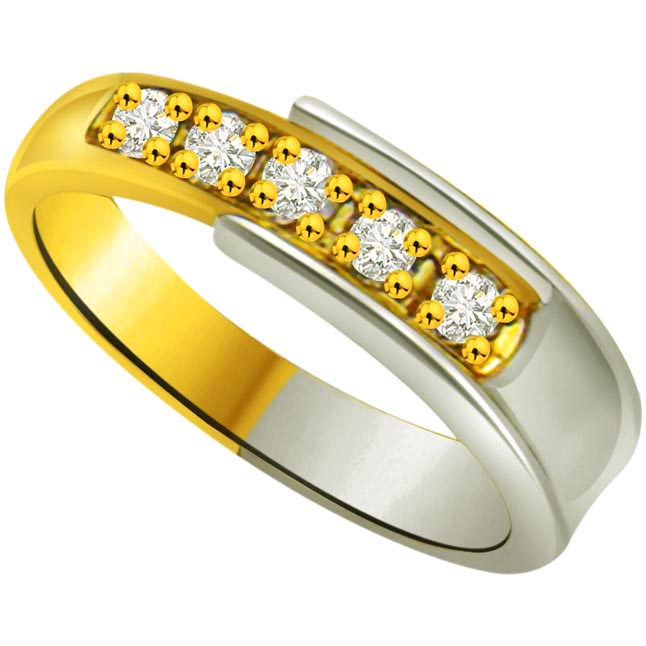 Two -Tone Diamond Half Eternity rings SDR747 -2 Tone Half Eternity