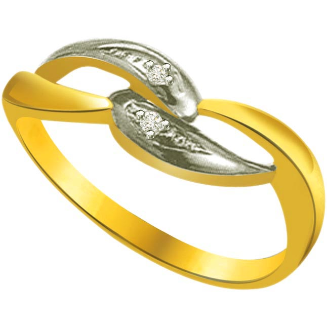 Two -Tone Diamond Gold rings SDR749 -White Yellow Gold rings
