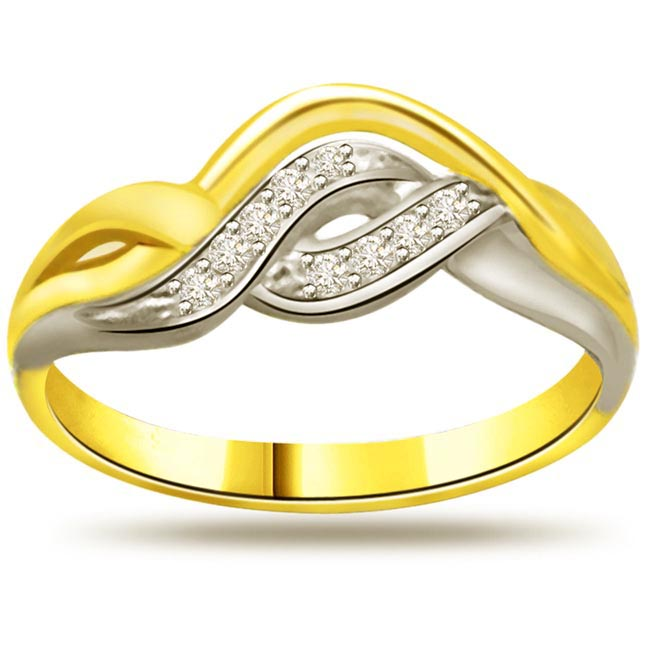 Two -Tone Diamond Gold rings SDR751 -White Yellow Gold rings