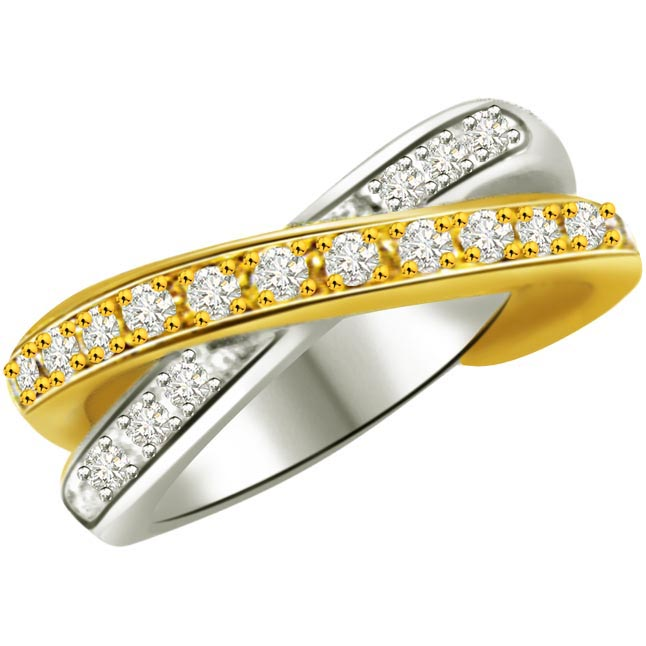 Two -Tone Diamond Half Eternity rings SDR755 -2 Tone Half Eternity