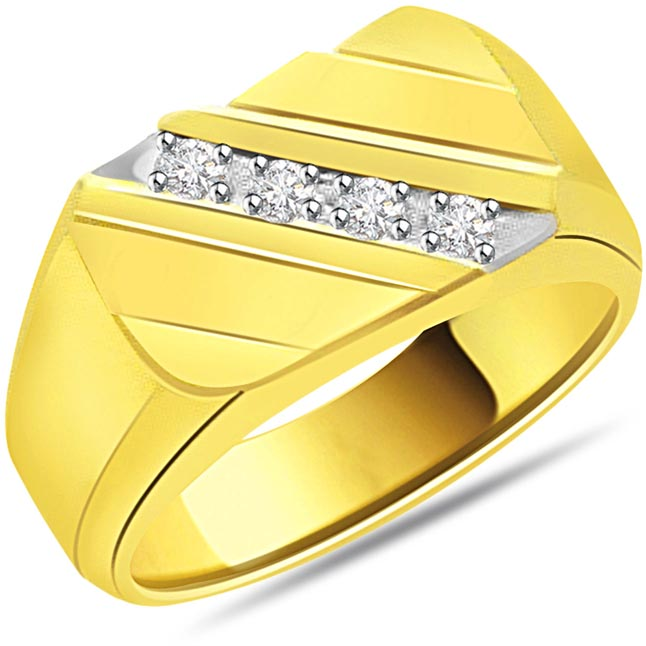 0.16 cts Diamond 18k Gold Men's rings