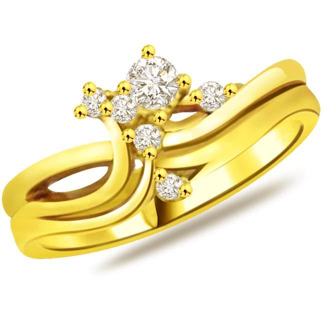 Trendy Diamond Gold rings SDR764