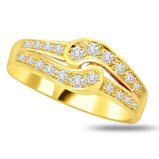 Trendy Diamond Gold rings SDR766