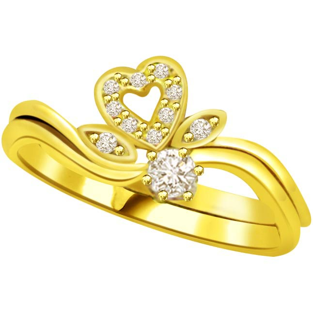 Diamond Heart Shape Gold rings SDR772