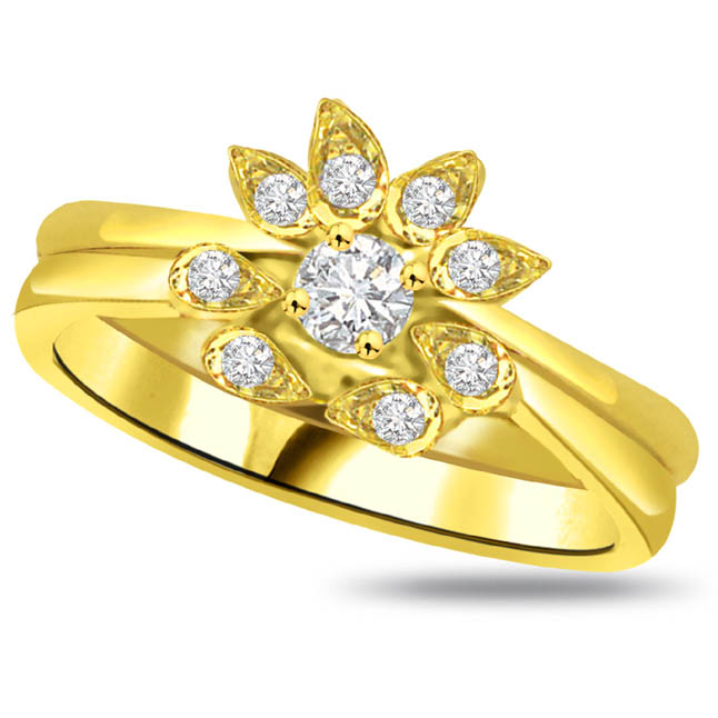 Flower Shape Diamond Gold rings SDR773