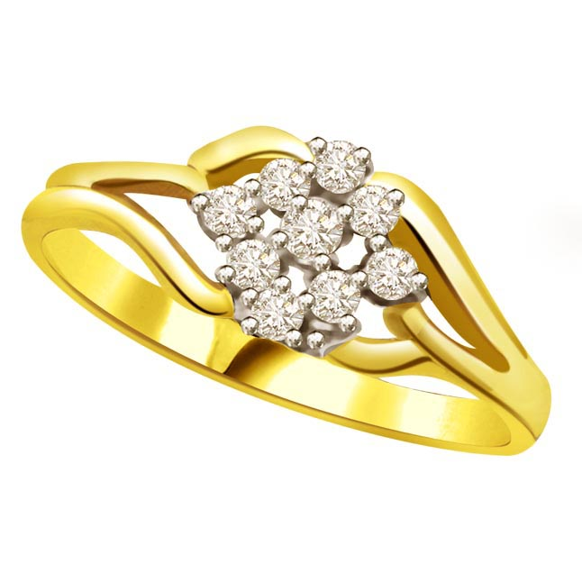 Flower Shape Diamond Gold rings SDR774