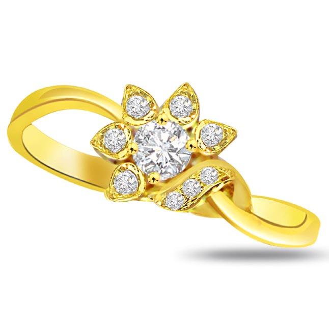 Flower Shape Diamond Gold rings SDR782
